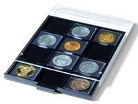 Médaillier 12 compartiments carrés jusqu'à 67 x 67  mm, teintumée, avec plat
