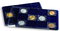 Bandeja L con 12 divisiones para cartones de monedas, hasta 67x67 mm, azul