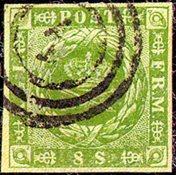 丹麦-1854。面值8S 绿色