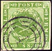 丹麦-1858年。8S 绿色