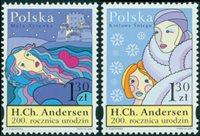 波兰- 安徒生200年纪念 - 一套2枚