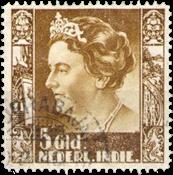 Nederland Indië - 5 gld geellbruin uit Wilhelminaserie 1938, (nr. 265, gebr