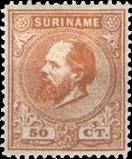 Suriname - 50 ct oranjebruin Koning Willem III (nr. 13, ongebruikt)