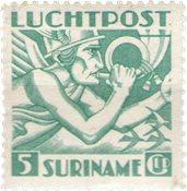 Suriname - 5 gld groenblauw uit luchtpostserie 1941 (nr. LP18, ongebruikt)