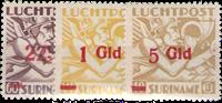 Suriname - Luchtpost overdruk in rood 1945 (LP24-LP26, ongebruikt)
