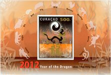 Curacao - L'année du dragon - Bloc-feuillet neuf