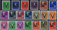Norvège surcharge V timbres neufs