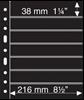 Pochettes plastiques GRANDE, avec 7 Bandes horizontales, noires, Leuchtturm