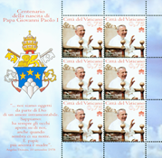 Vatican - 100 year of the Pope - Mint sheetlet
