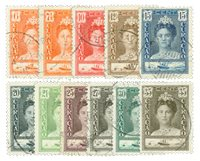 Curacao - Koningin Wilhelmina gewijzigd jubileumtype 1928-30 (nr. 89-99)