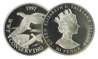 Îles Falkland - Albatros WWF - Belle monnaie en argent proof avec certificat d'autenticité et texte