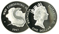 Bermuda - Glansøgle WWF - Flot sølvmønt proof kvalitet med tekstkort og ægthedsbevis