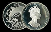 Falklandsøerne - Delfin WWF - Flot sølvmønt proof kvalitet med tekstkort og ægthedsbevis