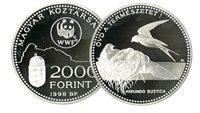 Hongrie - Hirundinidae WWF - Belle monnaie en argent proof avec certificat d'authenticité