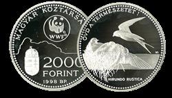 Ungarn - Svale WWF - Flot sølvmønt proof kvalitet med tekstkort og ægthedsbevis