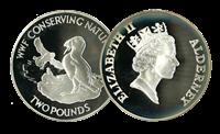 Alderney - Søpapegøje WWF - Flot sølvmønt proof kvalitet med tekstkort og ægthedsbevis