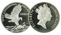 Îles Solomon - Balbuzard WWF - Belle monnaie en argent proof avec certificat d'autenticité et texte