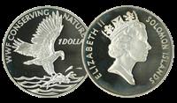 Salomonøerne - Fiskeørn WWF - Flot sølvmønt proof kvalitet med tekstkort og ægthedsbevis