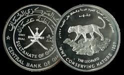 Oman - Leopard WWF - Flot sølvmønt proof kvalitet med tekstkort og ægthedsbevis