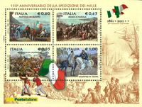 Italien - 150 året for Italiens grundlæggelse - Postfrisk miniark