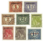 Nederland Opdruk armenwet 1913 - Nr. D1-D8 - Gebruikt