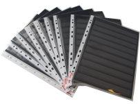 A4 Indstikskort, m/9 striber, sort,205x290 mm,1 s tk. m/lomme