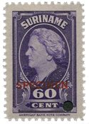 Suriname - Wilhelmina 1945 specimen opdruk 250 euro cataloguswaarde (nr.238