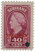 Suriname - Wilhelmina 1945 specimen opdruk 250 euro cataloguswaarde (nr.236