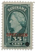Suriname - Wilhelmina 1945 specimen opdruk 250 euro cataloguswaarde (nr.235