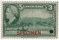 Suriname - Wilhelmina 1945 specimen opdruk 250 euro cataloguswaarde (nr.224