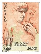 Monaco - Michelangelos Davis skulptur - Stemplet frimærke