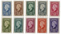 Suriname - Koningin Wilhelmina 1945 (nr.229-238, postfris)