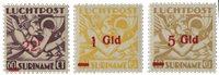 Suriname - Luchtpostzegels Mercuriuskop 1945 (nr.LP24-LP26, postfris)