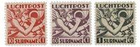 Suriname - Luchtpostzegels Mercuriuskop 1941 (nr.LP20-LP22, postfris)