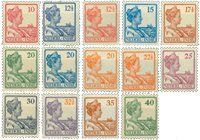 Nederland Indië - Koningin Wilhelmina 1913-1932, (nr. 115-128, postfrisk)