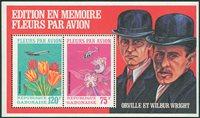 Gabon 1971 Fleurs, paire, avion bloc-feuillet neuf