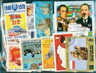 100张不同有关国家地图和国旗的邮票