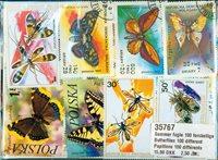 100张不同有关蝴蝶的邮票