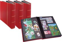 Stockbook - Red - Size A4 - 64 black pages - Real leather