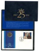 Danmark 1992 - Regentparrets sølvbryllup - 20 kr. møntbrev