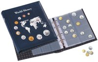 coin album OPTIMA,*World Money*with 5 different OPTIMA coin sheets, incl.slipcase, blue