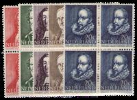 Nederland - Zomerzegels 1947 in blok van vier (nr.  490-494, postfris)