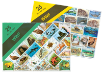 WWF stamp packet with 25 diff. stamps
