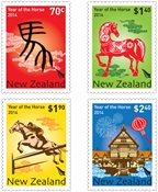 新西兰- 马年 - 新票,套票4枚
