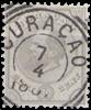 Curacao - 30 ct grijs Willem III (nr. 8, gebruikt)