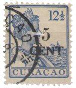 Curacao - 5 ct op 12 1/2 type II (nr. 74a, gebruikt)