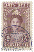 Curacao - 1 gld lilabruin uit Jubileumserie 1923 (nr. 79, gebruikt)