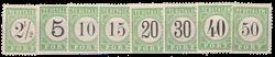 Curacao - losse waardes uit de eerste Portserie (nr. P1-P10, zonder P4 en P7, ongebruikt)