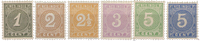 Nederland Indië - Cijfer 1883-1890 (nr. 17-22, ongebruikt)