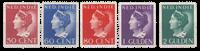 Nederland Indië - losse waardes koningin wilhelmina (282-286, ongebruikt)